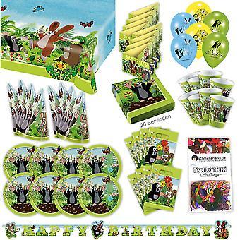 The little Mole party set XL 77-teilig for 8 guests little Mole decoration party package