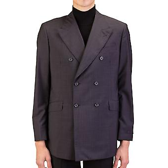 Prada Men's Wool Silk Double Breasted Jacket Sportscoat Black