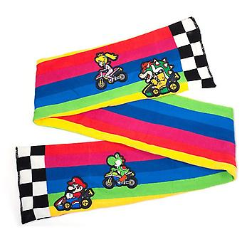 Nintendo Super Mario Bros Mario Kart Rainbow Road Knitted Scarf One Size