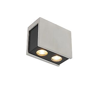 QAZQA Industrial Rectangle Ceiling Spotlight 2 Black with Concrete - Vessel