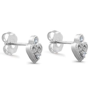 Vintage Diamond Heart Studs Petite 14k White Gold