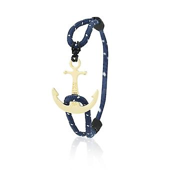 Skipper anchor bracelet nylon maritimes bracelets in Navy and white with Golden anchor 6938