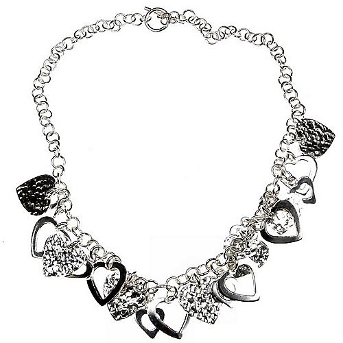 Love Hearts Silver Charm Necklace