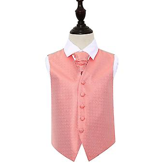 Coral Greek Key Wedding Waistcoat & Cravat Set for Boys