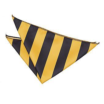 Yellow & Black Striped Handkerchief / Pocket Square