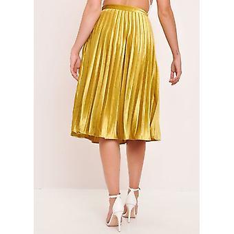 Fløjl plisseret Midi nederdel sennep gul