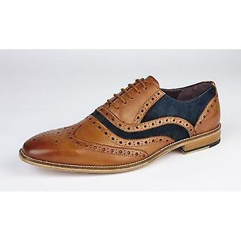 Roamers Mens 5 Eyelet Leather Brogue Oxfords