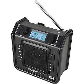 PerfectPro Soliddigital DAB + Arbeitsplatz radio, AUX, DAB +, FM spritzwassergeschützt, staubdicht, stoßfest schwarz