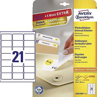 Papel de 63,5 x 38,1 mm etiquetas de Avery Zweckform L6023REV-25