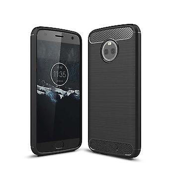 Motorola Moto X 4 TPU caso carbono fibra óptica escovada estojo preto