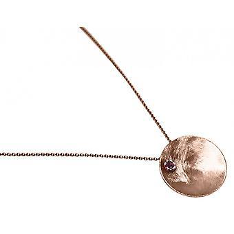 Damen - Halskette - Anhänger - 925 Silber - Rose Vergoldet - SCHALE - Granat - Rot - 45 cm