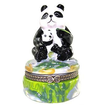 Giant Panda Bär und Baby Cub Trinket Box Porzellan aufklappbaren Box