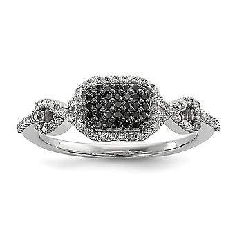 925 Sterling Silver Polished Gift Boxed Rhodium-plated Black and Whtie Diamond Ring - Ring Size: 6 to 8