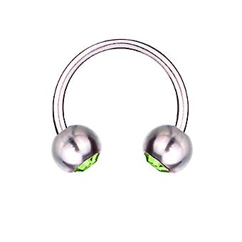 Circular Barbell Hufeisen Piercing Titan 1,6 mm, SWAROVSKI Elemente grün