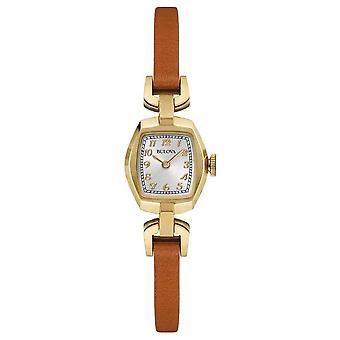 Bulova Womens bruin lederen riem rechthoek Dial 97 L 153 Watch