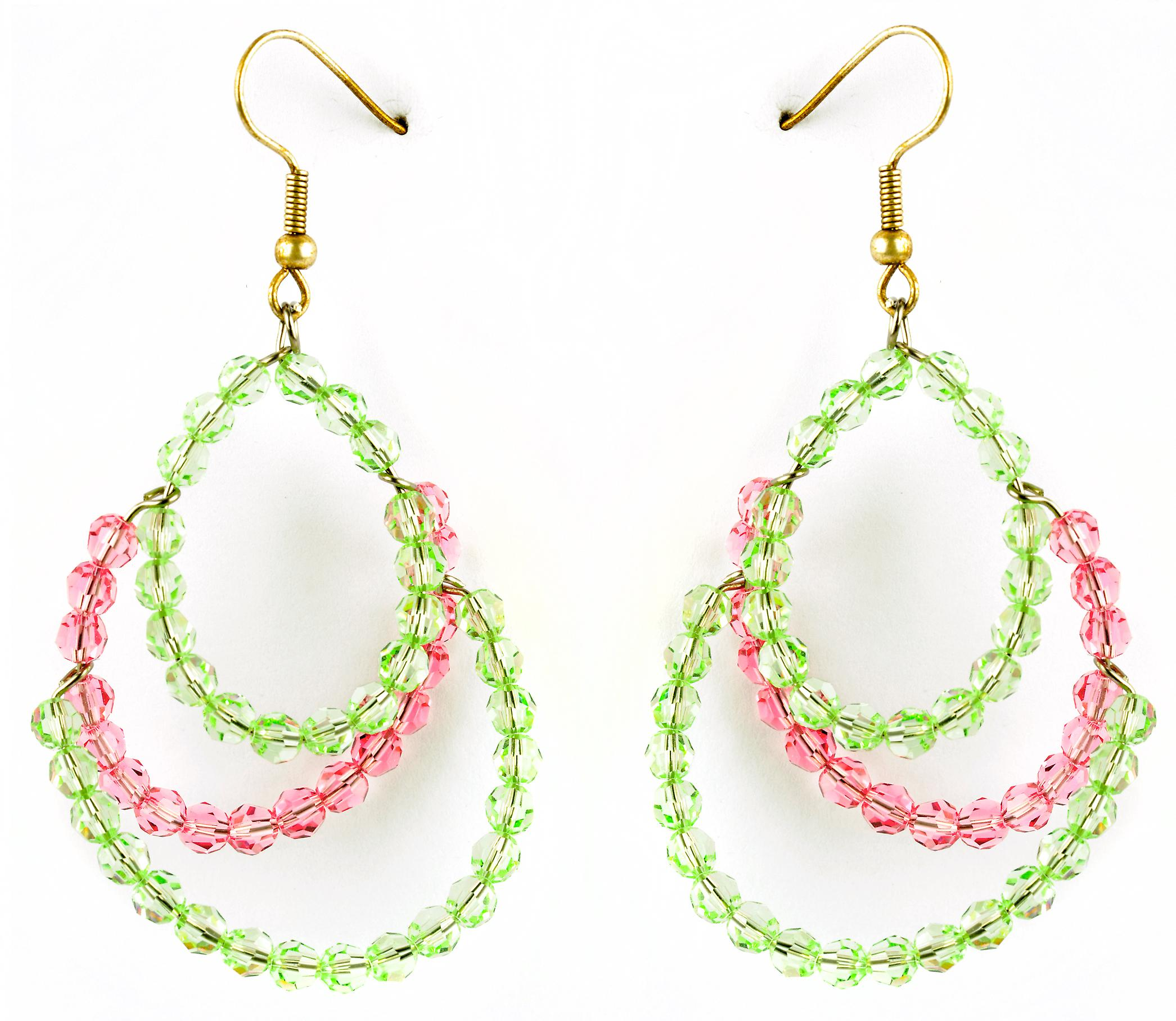 Waooh - jewelry - WJ0754 - earrings with Rhinestone Swarovski pink & green Transparent - mount colour gold