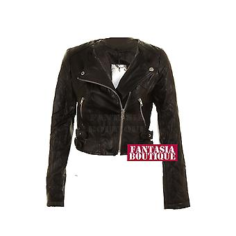 Ladies Black Biker Jacket Zilver Zip Leer van pvc met lange mouwen Women's Coat