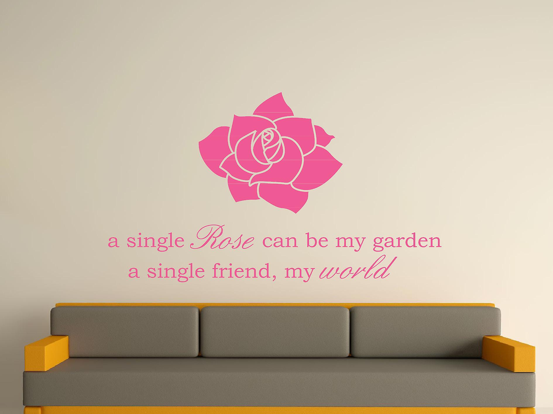 A Single Rose Wall Art Sticker - Pink