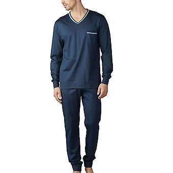 Mey Men 18889-668 Men's Uni Basic Yacht Blue Pyjama Set