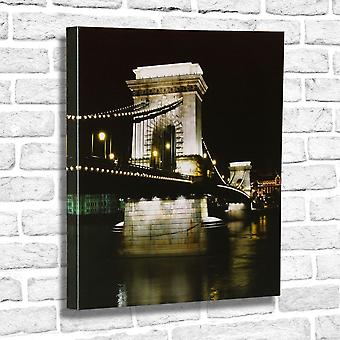 Photo Canvas Night Bridge, Wall Art 60 x 60 cm  Attached to Real Wooden Framework