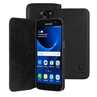 Bugatti BookCover Oslo real leather case for Samsung Galaxy S7 edge bag black