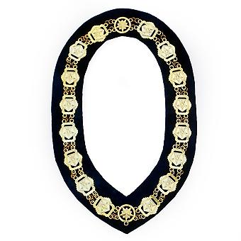 OES-Freimaurer Kompass Square Chain Collar-Gold/Silver on Black + Free Case