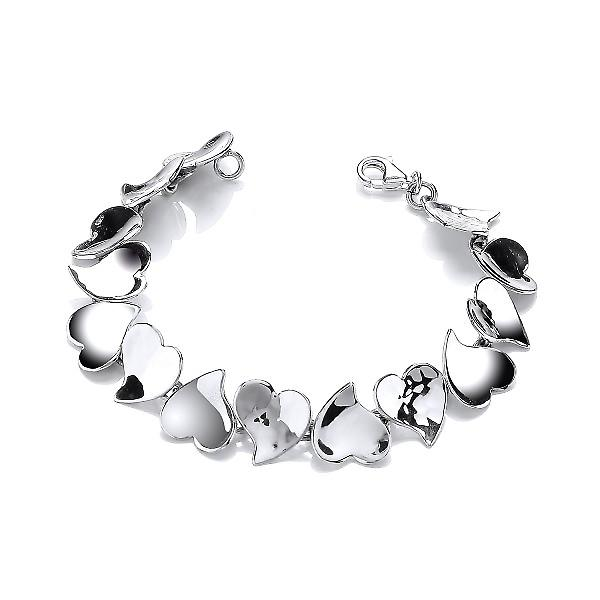 Cavendish French Sterling Silver Hammered and Shiny Hearts Bracelet
