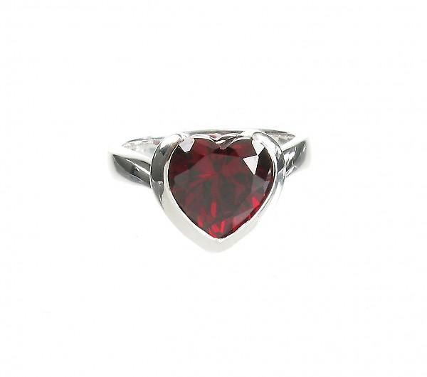 Cavendish French Sterling Silver and Garnet CZ Heart Ring