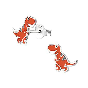 Children's Sterling Silver Orange Dinosaur Stud Earrings