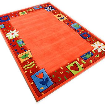 Rugs - Children\'s Floral Border - Orange - 3657