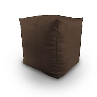 Brown Water Resistant Bean Filled Cube Pouffe Footstool