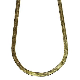 14K Gold Plated Herringbone Chain Necklace 5mm x 24 inches Brass