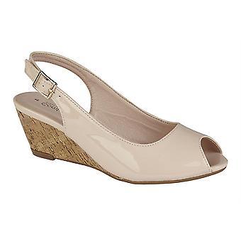 Ladies Womens Sandals Hi Shine Sling Back Peep Toe Buckle Wedge Shoes