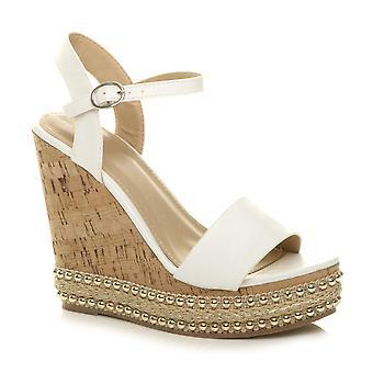 Ajvani dame høj kile hæl besat espadrille cork platform sandaler