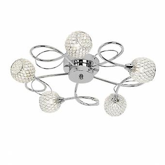 5 Light Semi Flush Multi Arm Ceiling Light Chrome With Wire, Bead Shade