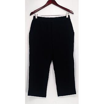 Denim & Co. Women's Petite Pants SP Active French Terry Crop Style Black A254574