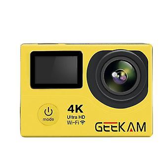 4k doble pantalla hd wifi impermeable cámara de acción wifi deportes submarinos dv amarillo
