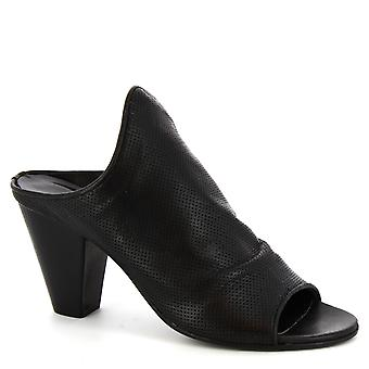 Leonardo Shoes Women's handmade mules heels shoes in black calf leather