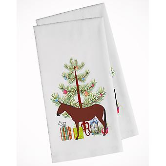 Hinny Horse Donkey Christmas White Kitchen Towel Set of 2