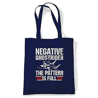 Negative Ghostrider Movie Inspired Tote | Reusable Shopping Cotton Canvas Long Handled Natural Shopper Eco-Friendly Fashion