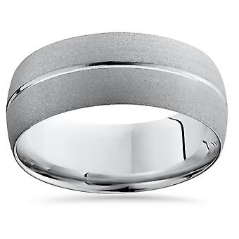14K White Gold Mens Brushed Single Groove Wedding Band 8mm