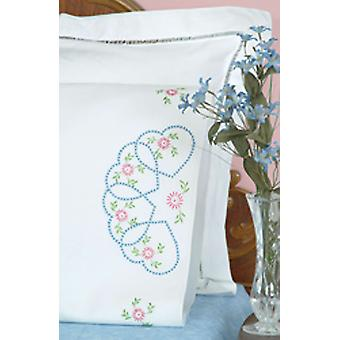 Stamped Pillowcases With White Perle Edge 2 Pkg Starburst Of Hearts 1600 33