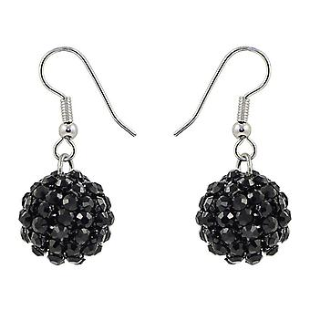 Jet Black Crystal Mesh Ball Earrings EMB115.6