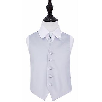 Boy's Silver Plain Satin Wedding Waistcoat & Tie Set