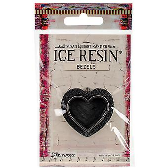 Ice Resin Milan Bezels Closed Back Heart Medium-Antique Silver IRB50759