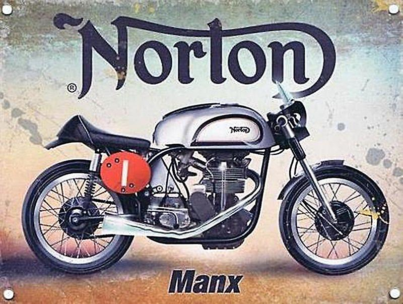 Norton Manx small steel sign 200mm x 150mm (og)