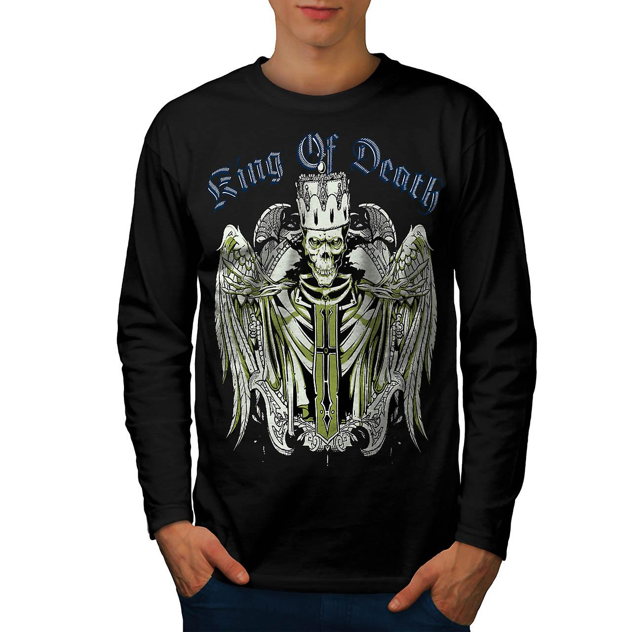 King Of Death Thrones Dead Skull Men Black Long Sleeve T-shirt | Wellcoda