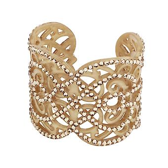 Rococo-inspired bejeweled gold cuff with interweaving design