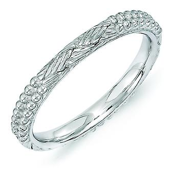 2.5mm Sterling Silver Stackable Expressions Rhodium-plated Patterned Ring - Ring Size: 5 to 10