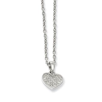 Sterling Silver and Cubic Zirconia Polished Heart Necklace - 18 Inch